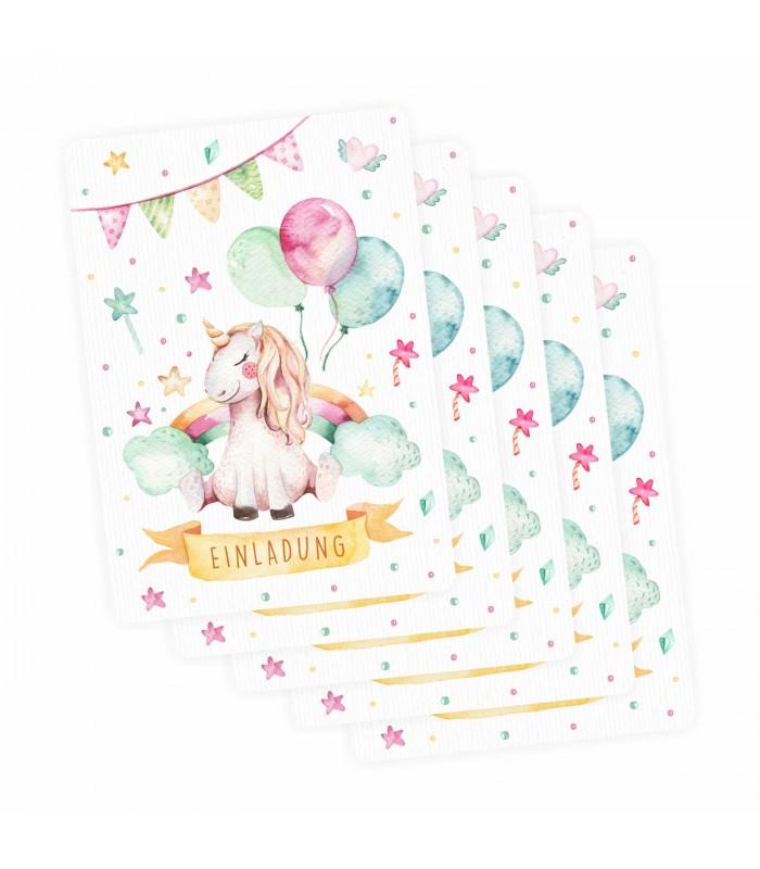 5 Transparenten Briefumschlägen Kindergeburtstag Mädchen · 5 Einladungskarten  Einhorn Mit Glitzer Inkl. 5 Transparenten Briefumschlägen Kindergeburtstag  ...