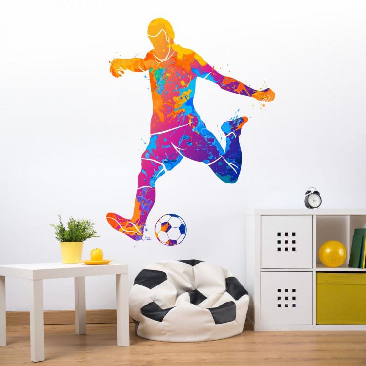 111 wandtattoo fussball spieler bunt for Wandtattoo jugendzimmer madchen