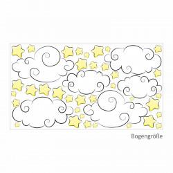 nikima - 112 Wandtattoo Sterne & Wolken Aufkleber Sticker