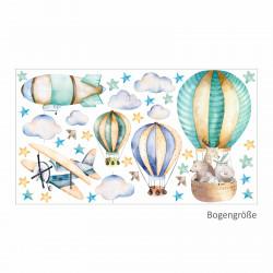 114 Wandtattoo Ballon mit Freunden Flugzeug Wolken Zeppelin