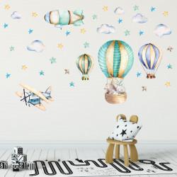 nikima - 114 Wandtattoo Ballon mit Freunden Flugzeug Wolken Zeppelin