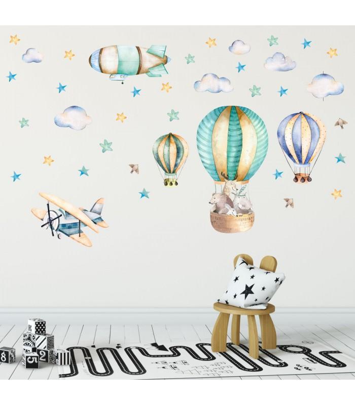 114 wandtattoo ballon mit freunden flugzeug wolken zeppelin - Wandtattoo ballon ...