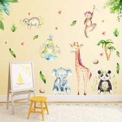 113 Wandtattoo Dschungeltiere Elefant Giraffe Panda Faultier Affe