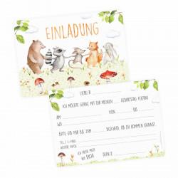 5 Einladungskarten Freunde auf Wiese inkl. 5 transparenten Briefumschlägen Kindergeburtstag Mädchen Junge Einladung