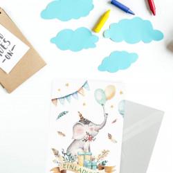5 Einladungskarten Elefant Luftballon Indianer inkl. 5 transparenten Briefumschlägen Kindergeburtstag Mädchen Junge Einladung