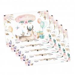 5 Einladungskarten Reh Hirsch Luftballon Geschenke inkl. 5 transparenten Briefumschlägen Kindergeburtstag Mädchen Einladung