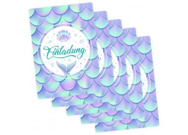 5 Einladungskarten Meerjungfrau mit GLITZER inkl. 5 transparenten Briefumschlägen Kindergeburtstag Mädchen Junge Einladung