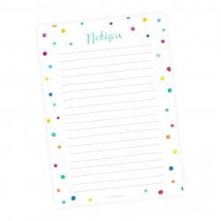 A5 Notizblock bunte Punkte Aquarell Wasserfarben - 50 Blatt to do Liste Einkaufszettel