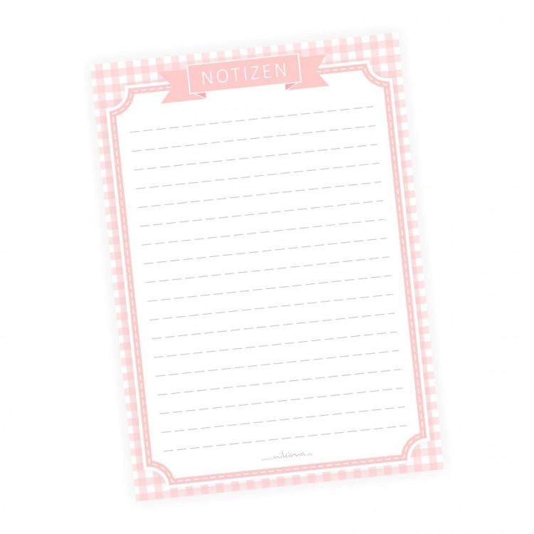 A5 Notizblock Karo Vichy rosa kariert - 50 Blatt to do Liste Einkaufszettel