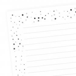 A5 Notizblock Sterne grau schwarz - 50 Blatt to do Liste Einkaufszettel