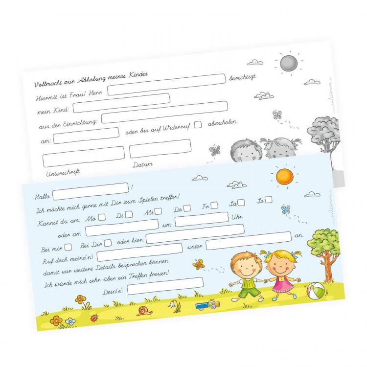 Verabredungsblock - DIN lang 50 Blatt - Spielen treffen - Einladung zum Spielen -  ideal für den Kindergarten
