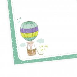 A6 Notizblock Giraffe im Ballon grün mint - 50 Blatt to do Liste Einkaufszettel Planer Wolken Sterne Punkte