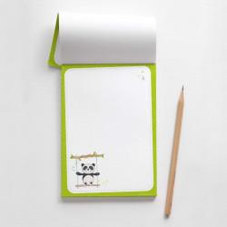 A6 Notizblock Panda Schaukel grün  - 50 Blatt to do Liste Einkaufszettel Planer