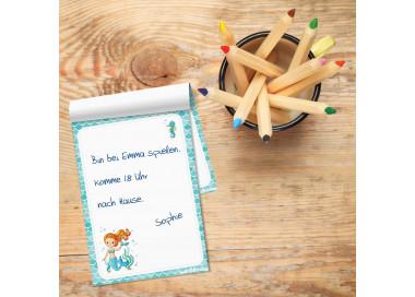 A6 Notizblock Meerjungfrau Seepferdchen blau - 50 Blatt to do Liste Einkaufszettel Planer Mädchen