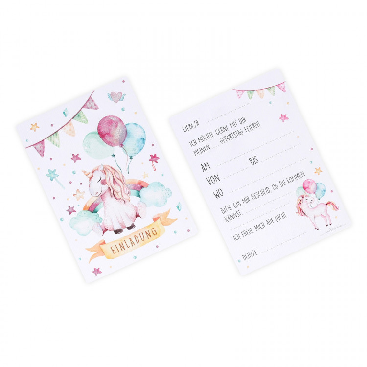 1 Einladungskarte Einhorn mit Glitzer inkl.1 transparenten Briefumschlag Kindergeburtstag Mädchen