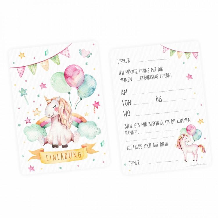 1 Einladungskarte Einhorn Mit Glitzer Inkl 1 Briefumschlag