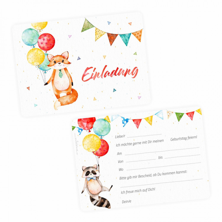 1 Einladungskarte Fuchs Luftballons inkl. 1 transparenten Briefumschlag Kindergeburtstag Mädchen Junge