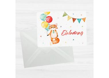 5 Einladungskarten Fuchs Luftballons inkl. 5 transparenten Briefumschlägen Kindergeburtstag Mädchen Junge