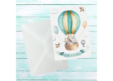 5 Einladungskarten Freunde im Ballon inkl. 5 transparenten Briefumschlägen Kindergeburtstag Mädchen Junge