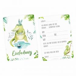 5 Einladungskarten Krokodil Dschungel Indianer inkl. 5 transparenten Briefumschlägen Kindergeburtstag Mädchen Junge