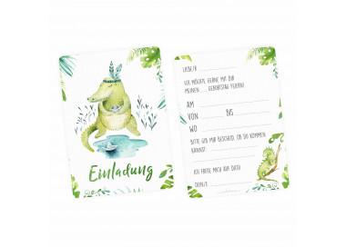 1 Einladungskarte Krokodil Dschungel Indianer inkl. 1 transparenten Briefumschlag Kindergeburtstag Mädchen Junge