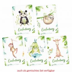 1 Einladungskarte Panda Dschungel Indianer inkl. 1 transparenten Briefumschlag Kindergeburtstag Mädchen Junge