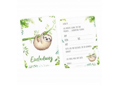 1 Einladungskarte Faultier Dschungel grün inkl. 1 transparenten Briefumschlag Kindergeburtstag Mädchen Junge