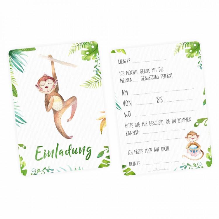 1 Einladungskarte Affe Dschungel grün inkl. 1 transparenten Briefumschlag Kindergeburtstag Mädchen Junge