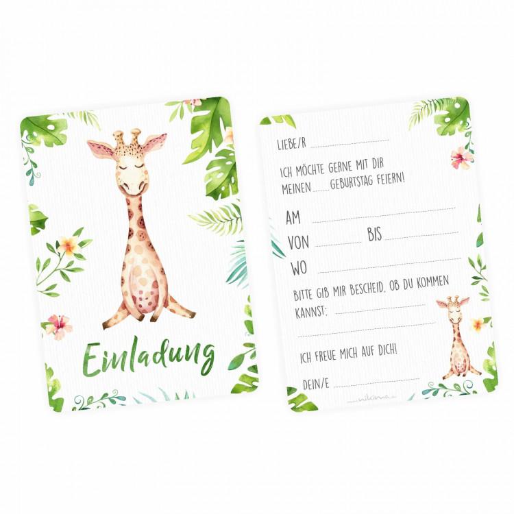1 Einladungskarte Giraffe Dschungel grün inkl. 1 transparenten Briefumschlag Kindergeburtstag Mädchen Junge