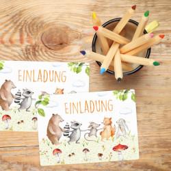 1 Einladungskarte Freunde auf Wiese inkl. 1 transparenten Briefumschlag Kindergeburtstag Mädchen Junge Einladung