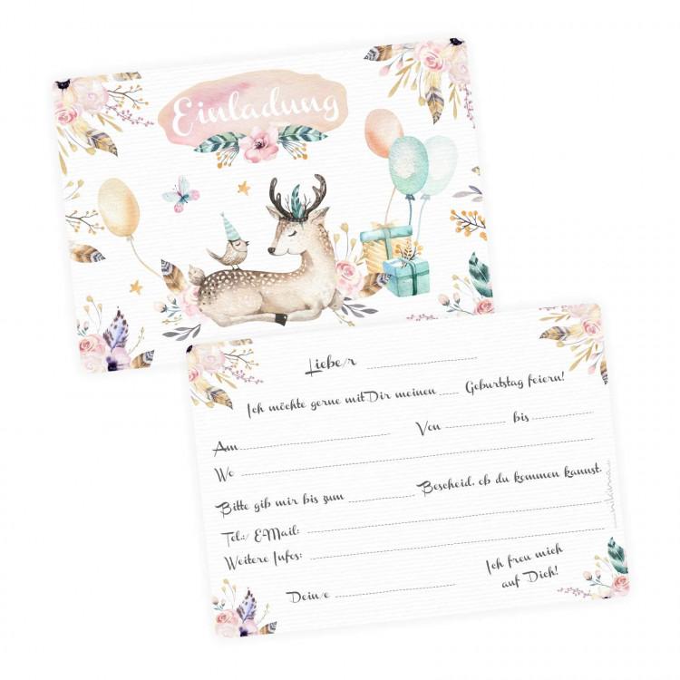 1 Einladungskarte Reh Hirsch Luftballon Geschenke inkl. 1 transparenten Briefumschlag Kindergeburtstag Mädchen Einladung