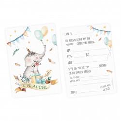 1 Einladungskarte Elefant Luftballon Indianer inkl. 1 transparenten Briefumschlag Kindergeburtstag Mädchen Junge Einladung
