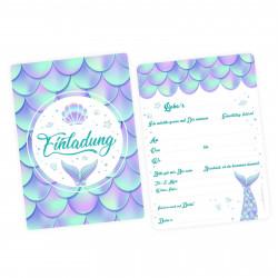 1 Einladungskarte Meerjungfrau mit GLITZER inkl. 1 transparenten Briefumschlag Kindergeburtstag Mädchen Junge Einladung