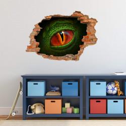 nikima - 115 Wandtattoo Auge Dinosaurier Reptil grün - Loch in der Wand