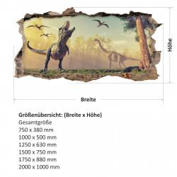 nikima - 117 Wandtattoo T-Rex und Brachiosaurus Urzeit - Loch in der Wand