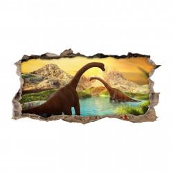nikima - 118 Wandtattoo Brachiosaurus Sonnenuntergang Urzeit - Loch in der Wand