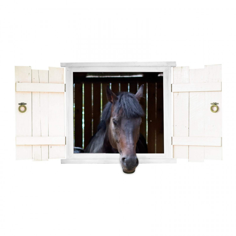 nikima - 126 Wandtattoo Pferd schwarz Pferdekopf im Fenster mit Fensterläden