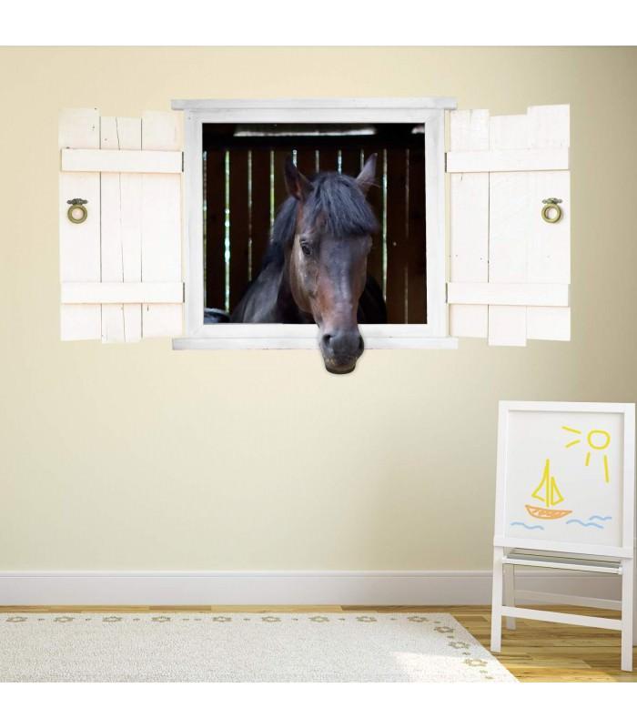 126 wandtattoo pferd schwarz pferdekopf im fenster. Black Bedroom Furniture Sets. Home Design Ideas