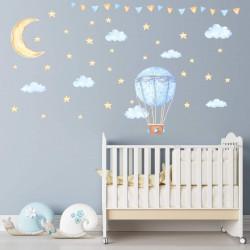 nikima - 119 Wandtattoo Ballon Wolken Sterne Wimpelkette hellblau Aquarell