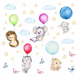 nikima - 123 Wandtattoo niedliche Tiere mit Luftballons Igel Katze Maus Bär Elefant