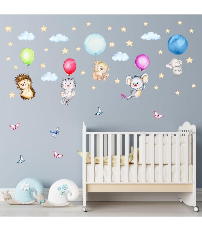 123 wandtattoo niedliche tiere mit luftballons igel katze maus. Black Bedroom Furniture Sets. Home Design Ideas