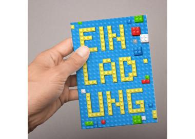 5 Einladungskarten Bausteine Bricks Bauklötze inkl. 5 transparenten Briefumschlägen Kindergeburtstag  Junge Einladung