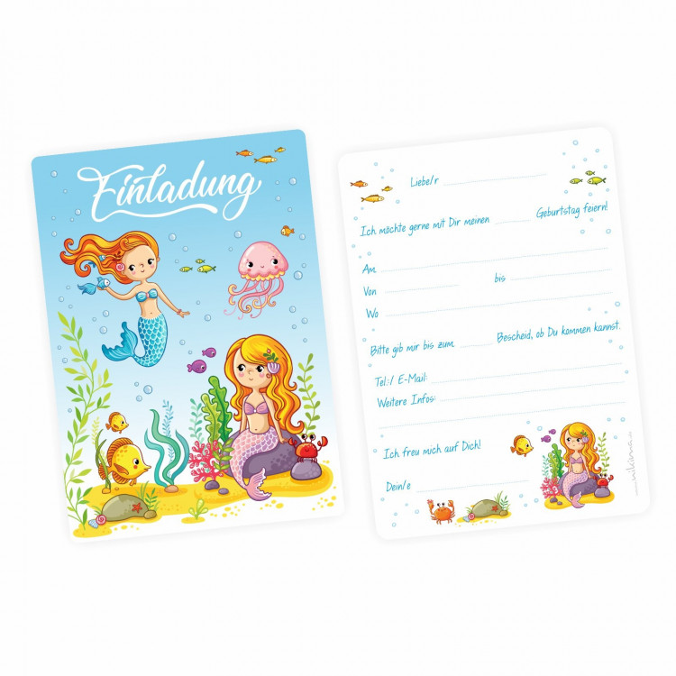 5 Einladungskarten Meerjungfrauen mit GLITZER inkl. 5 transparenten Briefumschlägen Kindergeburtstag Mädchen Einladung