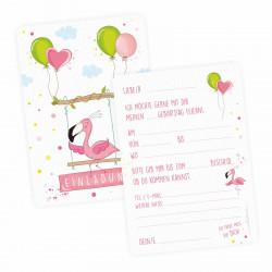 5 Einladungskarten Flamingo mit GLITZER inkl. 5 transparenten Briefumschlägen Kindergeburtstag Mädchen pink rosa Einladung