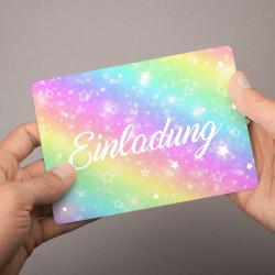 5 Einladungskarten Regenbogen mit GLITZER inkl. 5 transparenten Briefumschlägen Kindergeburtstag Mädchen bunt Einladung