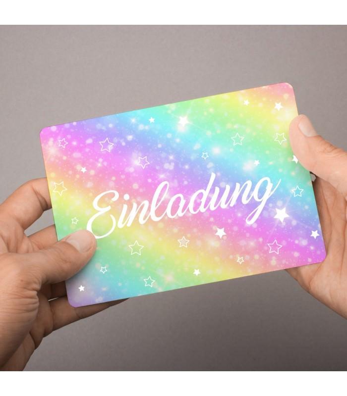 5 einladungskarten regenbogen sterne mit glitzer. Black Bedroom Furniture Sets. Home Design Ideas