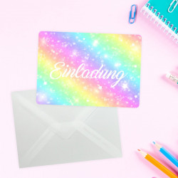 5 Einladungskarten Regenbogen Sterne mit GLITZER inkl. 5 transparenten Briefumschlägen Kindergeburtstag Mädchen bunt Einladung