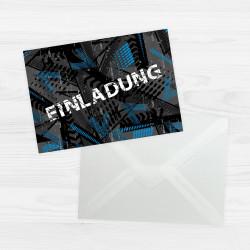 5 coole Einladungskarten Trash blau schwarz inkl. 5 transparenten Briefumschlägen Kindergeburtstag Junge Teenager Einladung