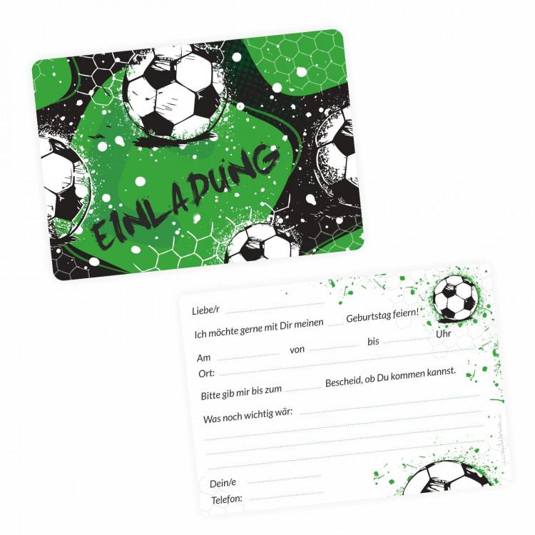 5 coole Einladungskarten Fussball grün schwarz inkl. 5 transparenten Briefumschlägen Kindergeburtstag Junge Teenager Einladung
