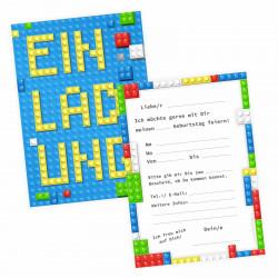 1 Einladungskarte Bausteine Bricks Bauklötze inkl. 1 transparenten Briefumschlag Kindergeburtstag  Junge Einladung